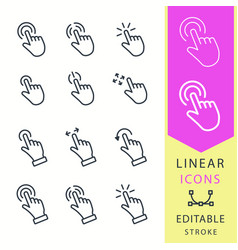 Touch - line icon set editable stroke vector