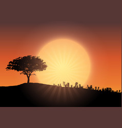 tree silhouette against sunset sky vector image