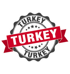 Turkey round ribbon seal vector