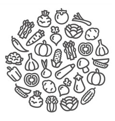Vegetables icons in a circular shape vector