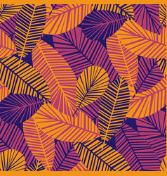 vibrant cool leaves seamless pattern vector image