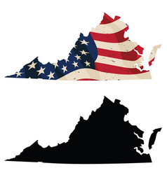 Virginia with aged usa flag and black silhouette vector