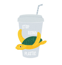 with turtle and disposable cup vector image