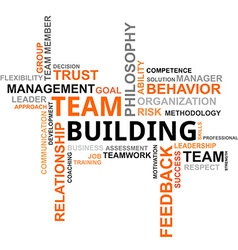 Word cloud team building vector