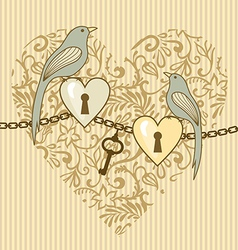 birds and heart vector image vector image