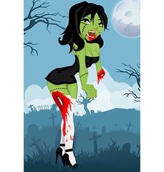 Cartoon zombie girl vector