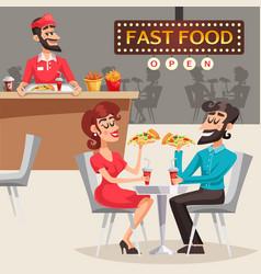 People in fast food restaurant vector