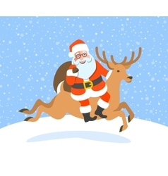 Santa Claus with gifts rides on Christmas deer vector image vector image