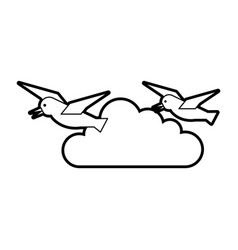 gulls flying isolated icon vector image