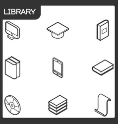 library outline isometric icons vector image vector image
