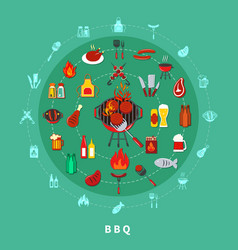 barbecue circle composition vector image vector image