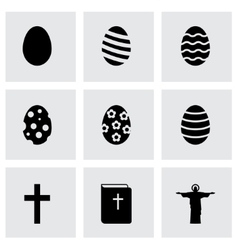 black easter icon set vector image