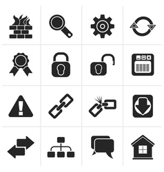 Black Internet and web site icons vector image