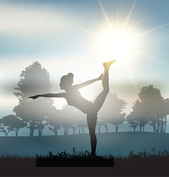 Female in yoga pose in countryside vector image