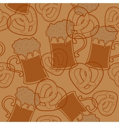 Seamless pattern with beer and pretzels vector image