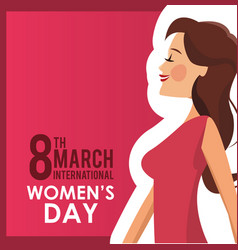 8 march womens day card girl vector image