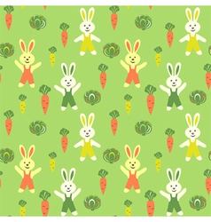 Bunnies cartoon with carrots and cabbage vector image vector image