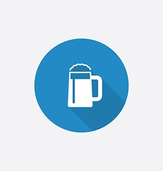 glass of beer Flat Blue Simple Icon with long vector image vector image