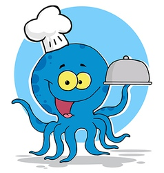 Octopus Chef Serving Food vector image vector image