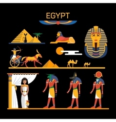 Set of egypt characters with pharaoh gods vector