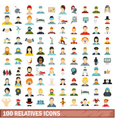 100 relatives icons set flat style vector