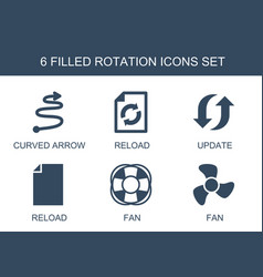 6 rotation icons vector