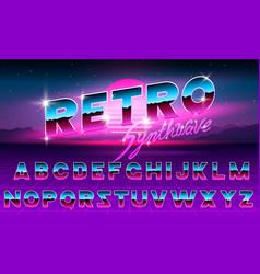 80 s purple neon retro font futuristic metal vector image