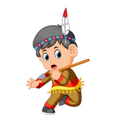 A boy american indian holding spear vector