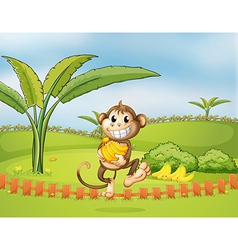 A monkey running away with bananas vector image