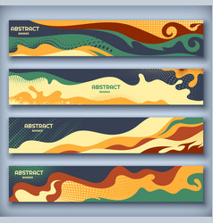 abstract modern banners with wavy and halftone vector image