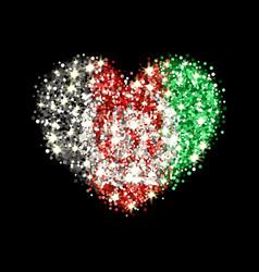 afghanistan flag sparkling heart badge vector image