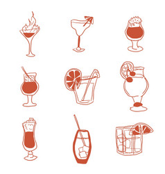 alcoholic drinks selection of simple images doodle vector image