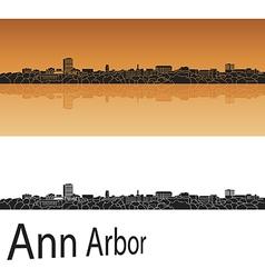 Ann Arbor skyline in orange background vector image