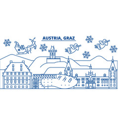 austria graz winter city skyline merry christmas vector image