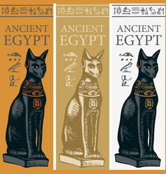 Banners with egyptian goddess bastet vector