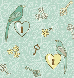 Birds keys patern vector
