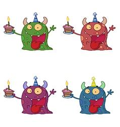 Birthday monster cartoon vector