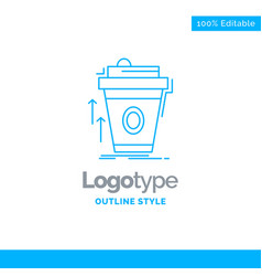 Blue logo design for product promo coffee cup vector