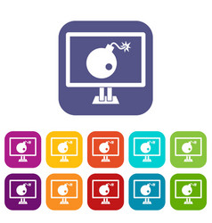 Bomb on computer monitor icons set vector
