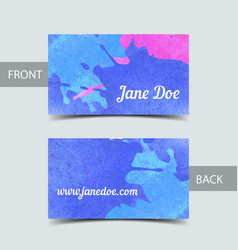 Business card template for watrcolor vector image
