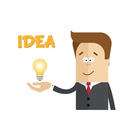 Businessman or manager with a lamp in his hand vector image