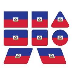 buttons with flag of Haiti vector image