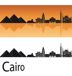 Cairo skyline in orange background vector
