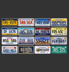 Car registration numbers and license plates in usa vector