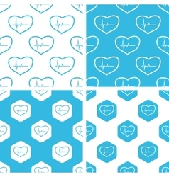 Cardiology patterns set vector