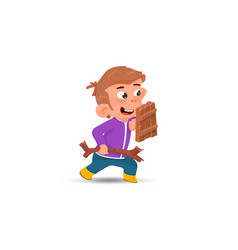 cartoon boy with a shield and a stick is playing vector image