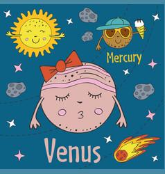 Cartoon funny venus with mercury vector