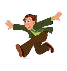 Cartoon man in green jacket running with hands vector