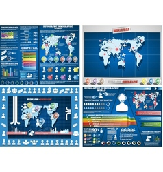 COLLECTION OF FOUR INFOGRAPHICS DEMOGRAPIC WORLD vector