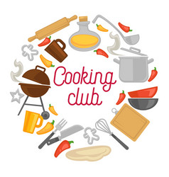 Cooking club chef kitchenware icons poster vector